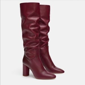 LOOKING FOR Zara burgundy heeled boot size 7